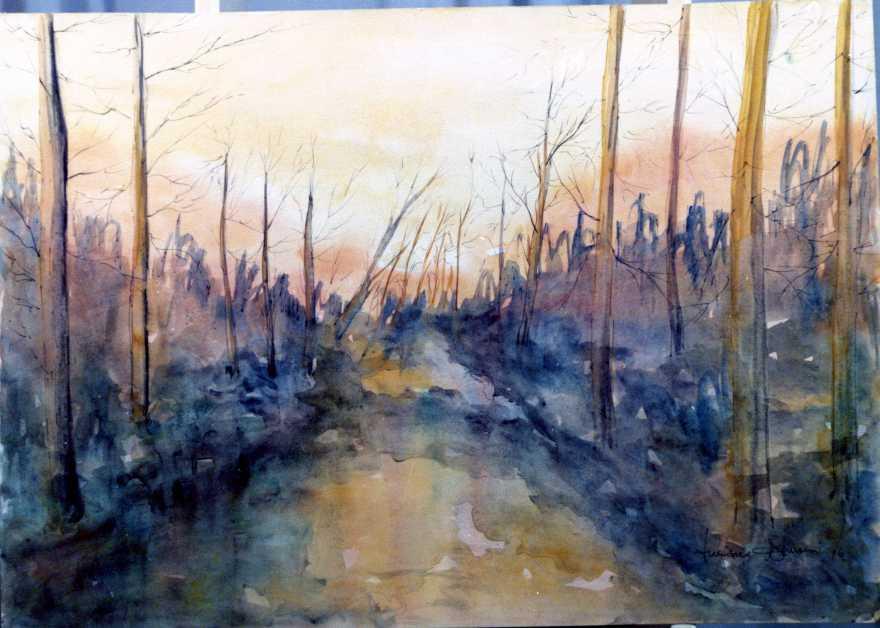 alberi-al-tramonto-acquerello-50x70-cm-collezione-privata-1976-comune-di-latina